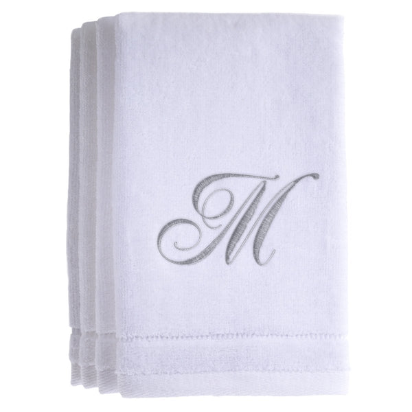 Set of 4 monogrammed towels - Initial M