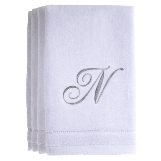 Set of 4 monogrammed towels - Initial N