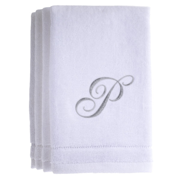 Set of 4 monogrammed towels - Initial P