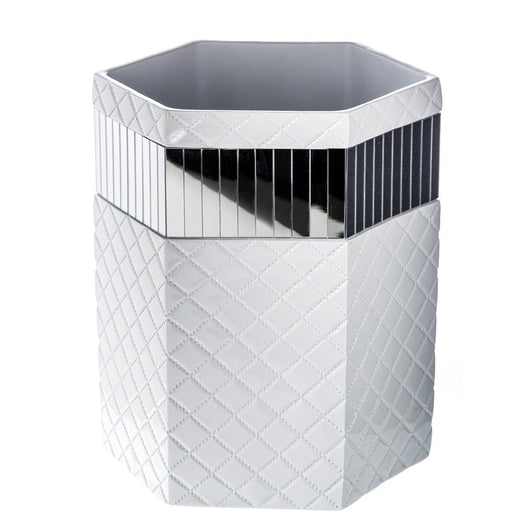 Quilted Mirror Wastebasket