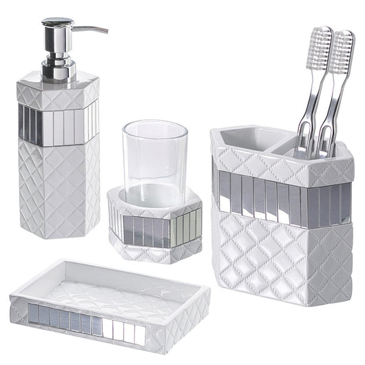 Quilted Mirror 4 Piece Bath Gift Set