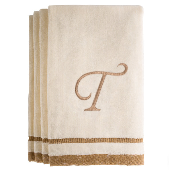 Set of 4 monogrammed towels - Initial T
