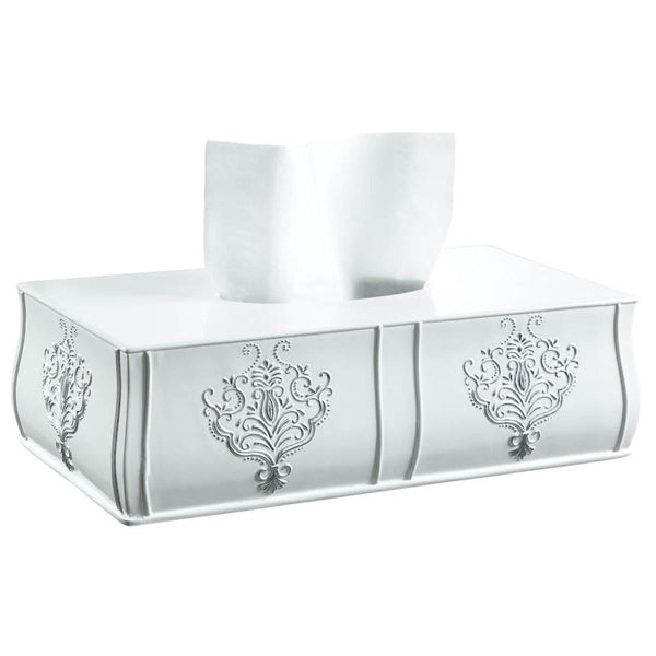 Vintage White Rectangle Tissue Box