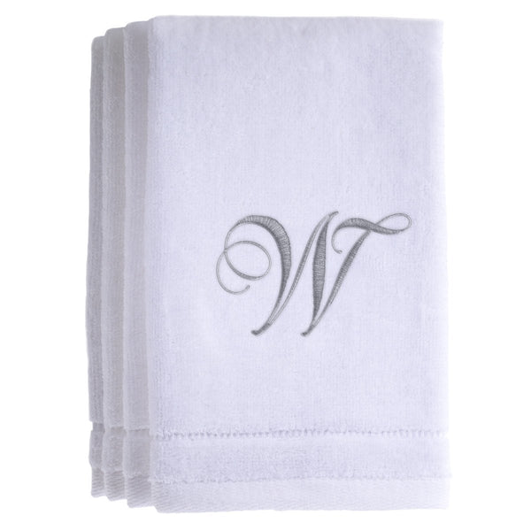 Set of 4 monogrammed towels - Initial W