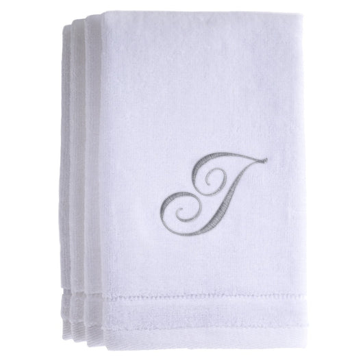 Set of 4 monogrammed towels - Initial I