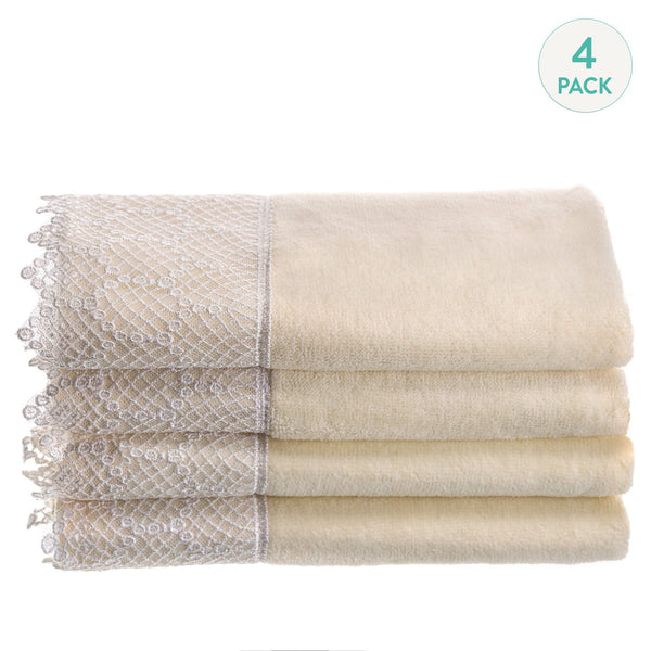 Ivory Lace Towels - Set of 4