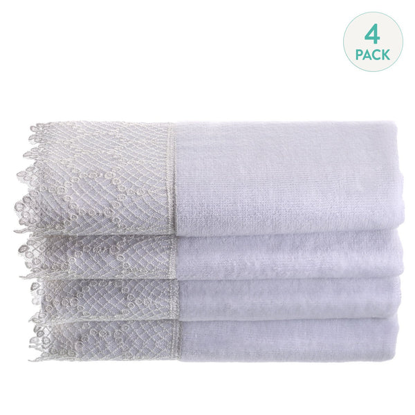 White Lace Towels - Set of 4