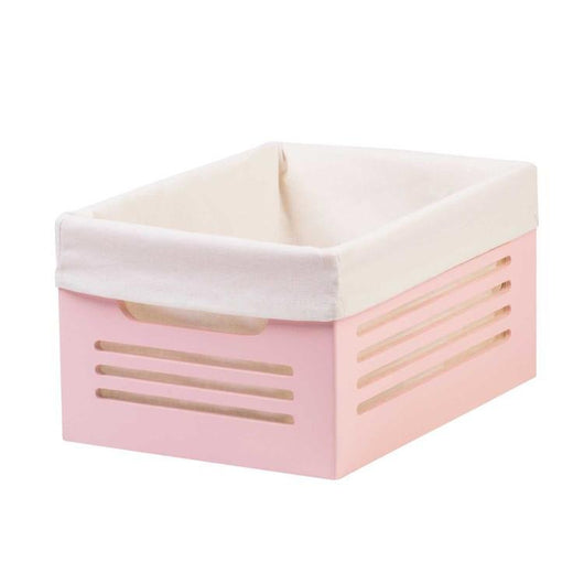 Wooden Pink Storage Bins - Small