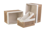 Wooden Tan Storage Bins - Extra Small