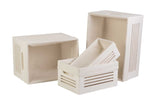 Wooden White Storage Bins - Medium