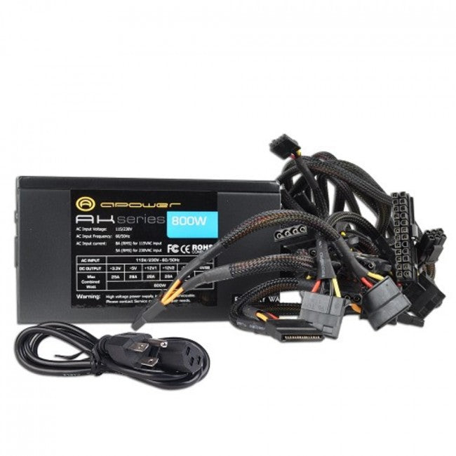 A-Power AK 800W 20+4-pin ATX Power Supply w/SATA & PCIe (Black)