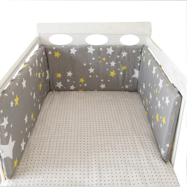 Nordic Stars Design Baby Bed Thicken Bumpers One-piece Crib Around Cushion Cot Protector Pillows Newborns Room Decor 150*30cm