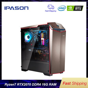 IPASON Gaming PC AMD 8-Core R7 2700 RTX2070 8G DDR4 16G RAM 256G  SSD water-cooled game Desktop computers assembly Gaming PC