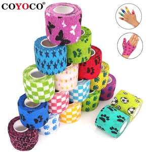 1 pcs Printed Medical Self Adhesive Elastic Bandage 4.5m Colorful Sports Wrap Tape for Finger Joint Knee First Aid Kit Pet Tape