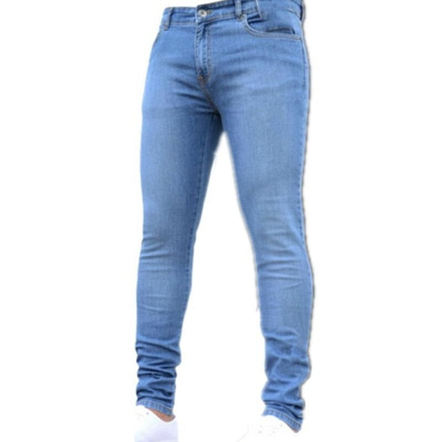 New Mens Pencil Pants 2019 Fashion Men Casual Slim Fit Straight Stretch Feet Skinny Zipper Jeans For Male Hot Sell Trousers
