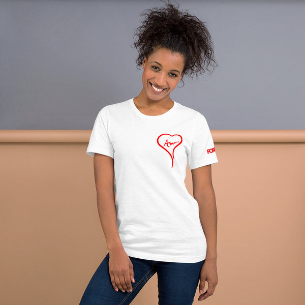 White & Red AMOR Unisex T-Shirt
