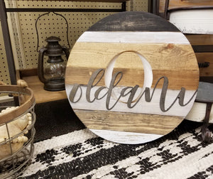 "18"" wood round - metal name"