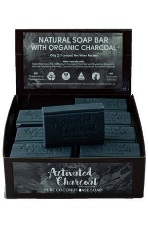 natural soap bar with organic charcoal