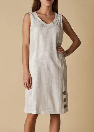 v neck button trim dress