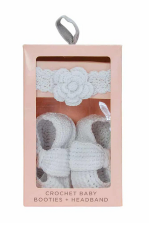 White Baby Booties and Headband Set
