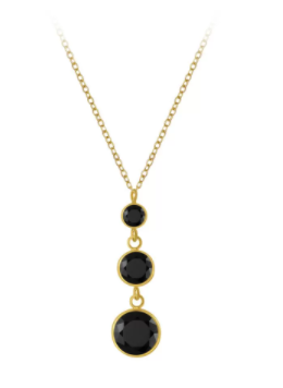 gold black drop necklace