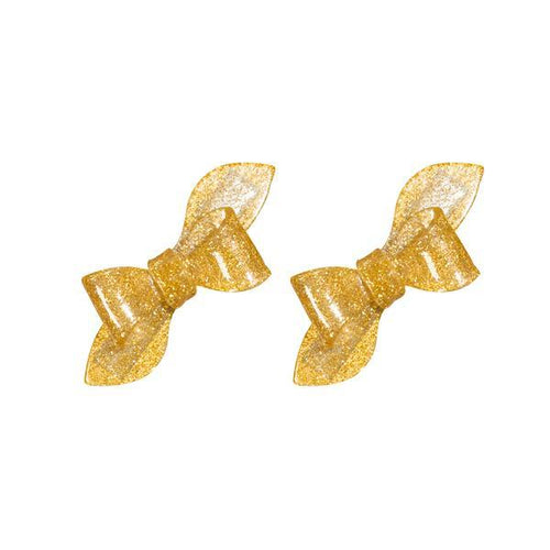 Rosane Bow Alligator Clips - Glitter Gold