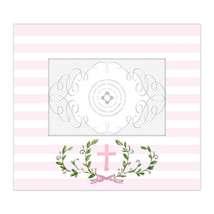 4x6 Wide Frame - Laurel Crest with Pink Cross