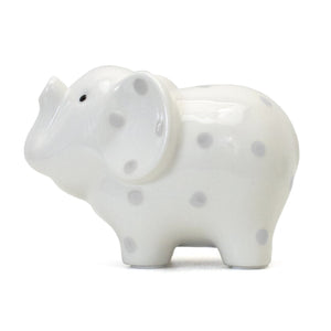 White Elephant Bank - Gray Polka Dots