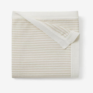 Mini Stripe Cotton Knit Blanket - Wheat