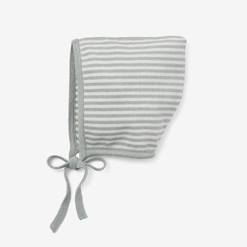 Mini Stripe Cotton Knit Bonnet - Sage