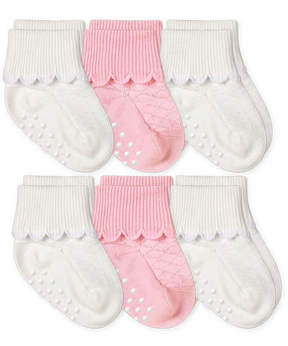Non-Skid Scalloped Cuff Socks 6 Pair Pack - White/Pink (62102)