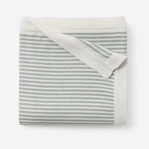 Mini Stripe Cotton Knit Blanket - Sage