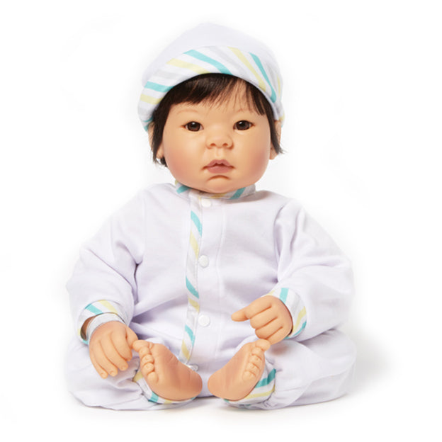 Newborn Nursery 76025 - Beautiful Baby Bown Eyes/Black Hair/Lt Skin Tone