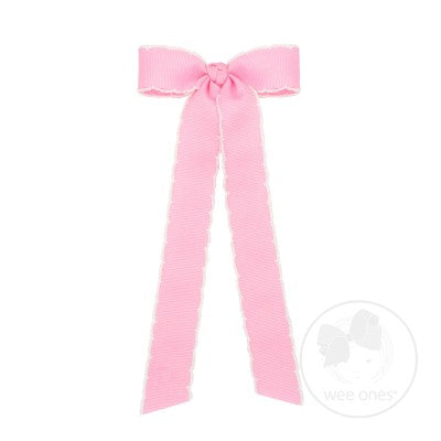 Moonstitch Grosgrain Streamer Bow - Pearl Pink with White