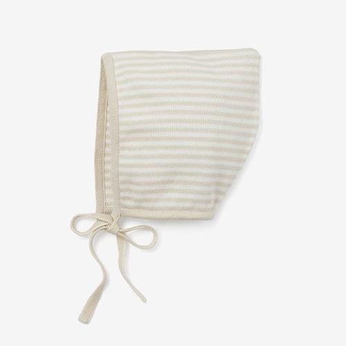 Mini Stripe Cotton Knit Bonnet - Wheat