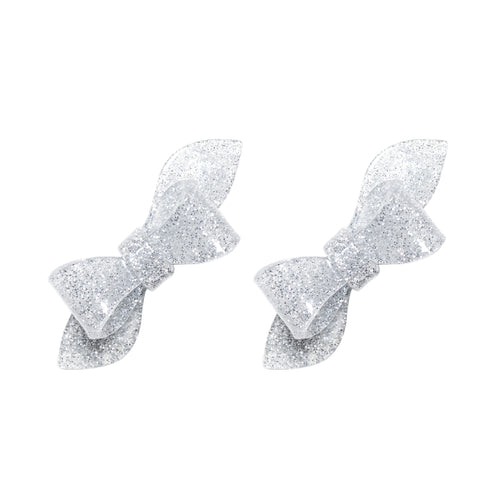 Rosane Bow Alligator Clips - Silver