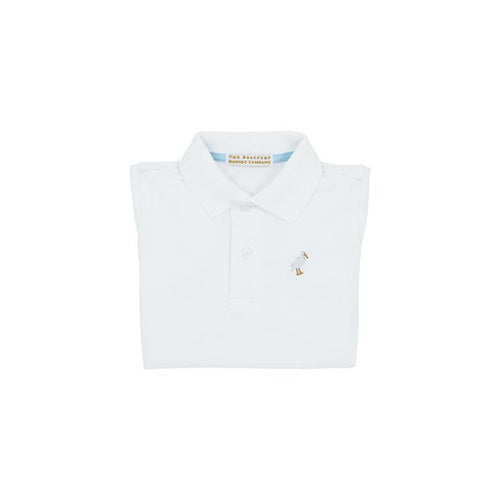 Prim & Proper Polo -  White with Multicolor Stork