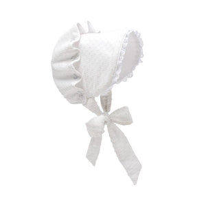 Bellefaire Bonnet - White Dixie Dot with White Eyelet