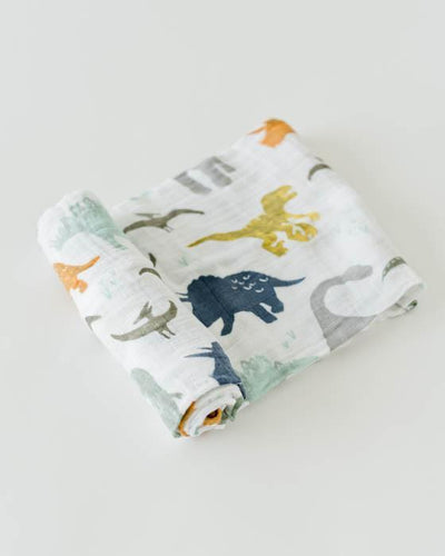 Cotton Muslin Swaddle Single - Dino Friends