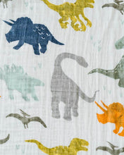 Load image into Gallery viewer, Cotton Muslin Swaddle Single - Dino Friends