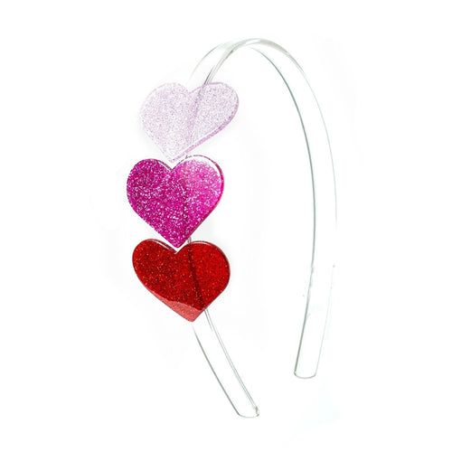 Cece Multi Heart Headband - Glitter Red/Pink