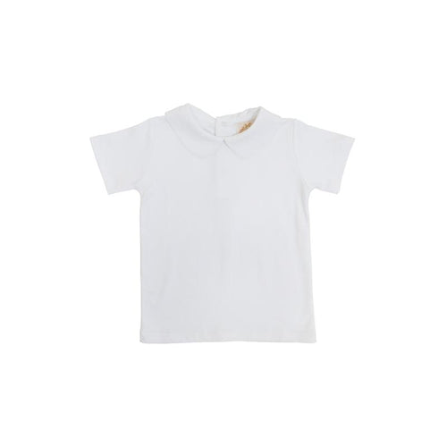 Peter Pan Collar Shirt Short Sleeve Pima - Worth Avenue White