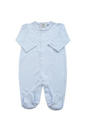 Footed Pajamas - Blue With Blue Stitch