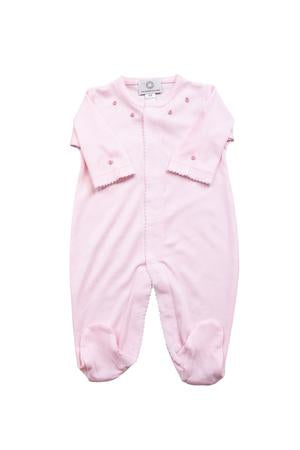Footed Pajamas - Pink With Rosebuds