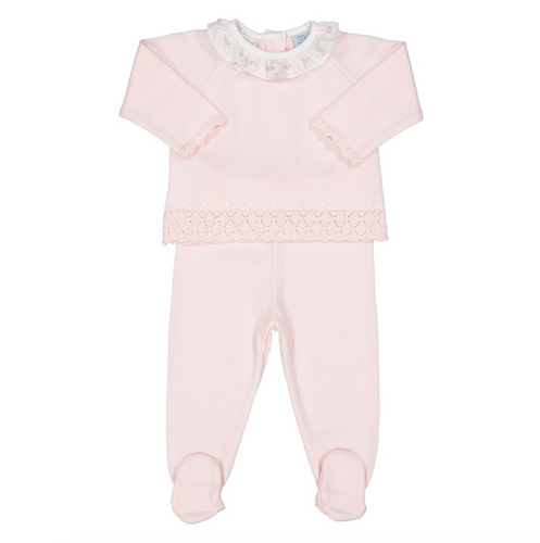Rose Ruffle Collar Diamond Knit Set - Pink