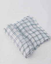 Load image into Gallery viewer, Deluxe Muslin Swaddle - Navy Windowpane