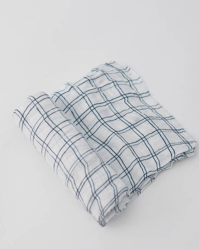 Deluxe Muslin Swaddle - Navy Windowpane