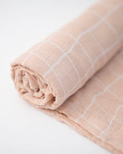 Load image into Gallery viewer, Deluxe Muslin Swaddle - Pink Windowpane