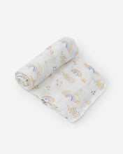 Load image into Gallery viewer, Deluxe Muslin Swaddle Single - Rainbows & Raindrops