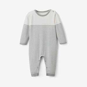 Mini Stripe Cotton Knit Jumpsuit - Sage